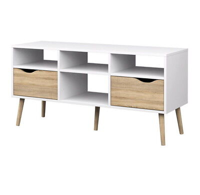OSLO Large TV Stand with Drawers Modern Retro Style white/sonoma oak