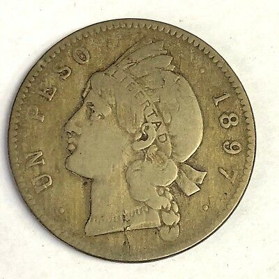 1897-A Dominican Republic Peso, Indian Princess, 1 Year Type KM#16, Philadelphia