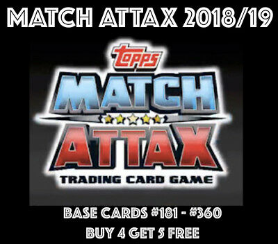 MATCH ATTAX 2018/19 18/19 BASE CARDS #181 - #360 inc LIVERPOOL MANCHESTER UNITED