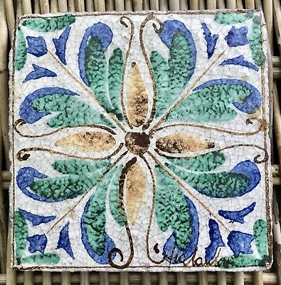 Vintage Fortunata of Italy Hand Painted Blue/Green Ceramic Terra Cotta Wall Tile