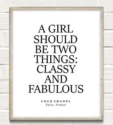 Coco Chanel Classy Fabulous Fashion Typography Print Poster Unframed Home Quote