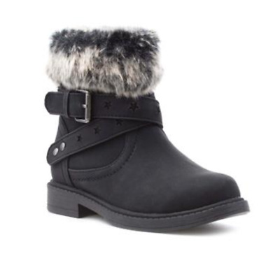 Walkright Younger Girls UK 12 Black Fur Trim Zip Up Faux Leather Ankle Boots