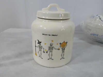 Rae Dunn Trick or Treat Skeleton Halloween Canister Cookie Jar Candy Corn New