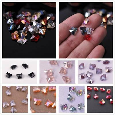 10pcs 10x8mm Faceted Butterfly Crystal Glass Charms Spacer Loose Bead Findings
