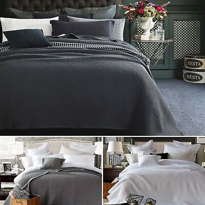 New 100% BAMBOO Chunky Large Waffle Blanket Bedspread Bed Throw Rug S D Q K SK