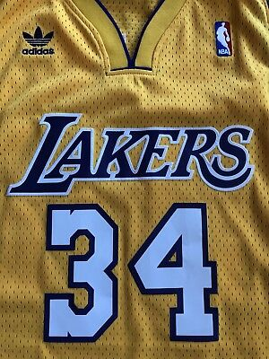 Shaquille O'neal Shaq Los angeles Lakers Gold Throwback Swingman Jersey Adidas