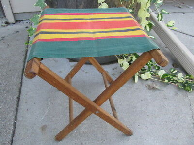 Brilliant Vintage Striped Canvas Cloth Wood Folding Stool For Camping Camellatalisay Diy Chair Ideas Camellatalisaycom