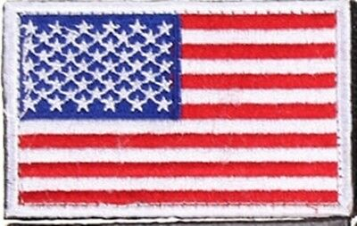 American Flag Embroidered Thread Patch Iron On White Border US SHOULDER