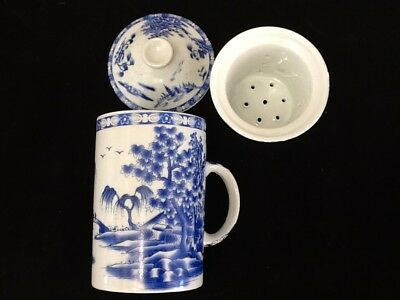 Chinese Porcelain Tea Cup Handled Infuser Strainer w Lid 10 oz Nice Blue Scene