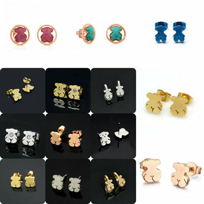 Woman Bear Alloy Ear Stud Earrings Animal Pierced Pendant Jewelry In Bulk