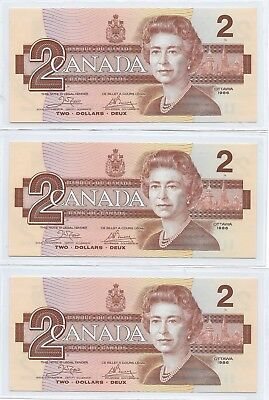 Canada 1986 run of 3 x $2, Crow & Bouey, Pick# 94a,  Gem Uncirculated