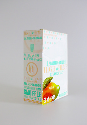 High Hemp Maui Mango Organic Wraps 1 Box 25 Pouch (50 Wraps) NON GMO