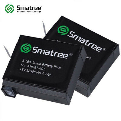 Smatree Replacement 1290mAh battery (2-Pack) for GoPro Hero 4 AHDBT-401