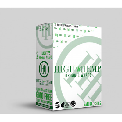 High Hemp Original Organic Wraps 1 Box 25 Pouch (50 Wraps) NON GMO