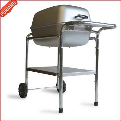 Charcoal Grill Smoker Combo Silver Durable Aluminum Freestanding Outdoor Grill