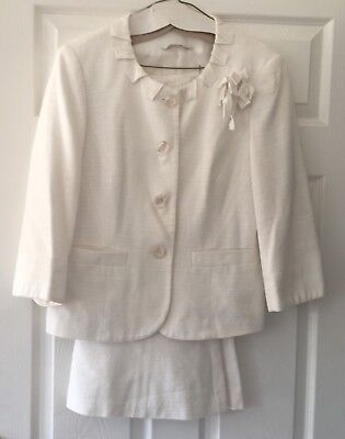 Skirt Suit in Cream from BHS Cotton & Viscose Fully Lined Size 16 Occasion Wear