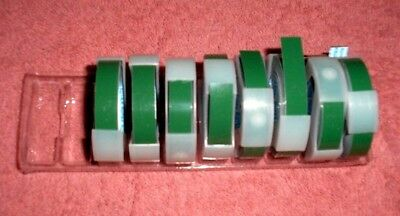 """VINTAGE ROTEX GREEN LABELING TAPE NON-GLARE   3/8""""x4' ROLLS"""