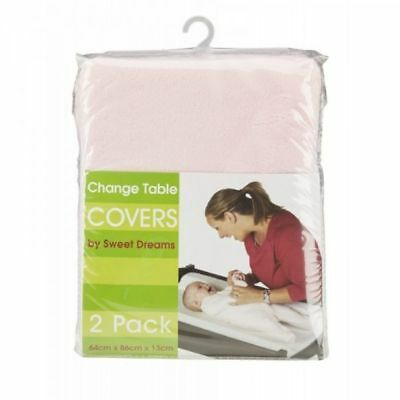 Sweet Dreams Change Table Mattress Covers Pink 2 Pack