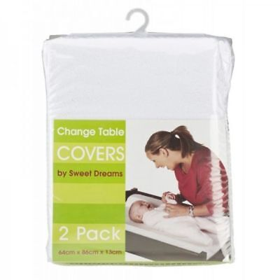 Sweet Dreams Change Table Mattress Covers White 2 Pack