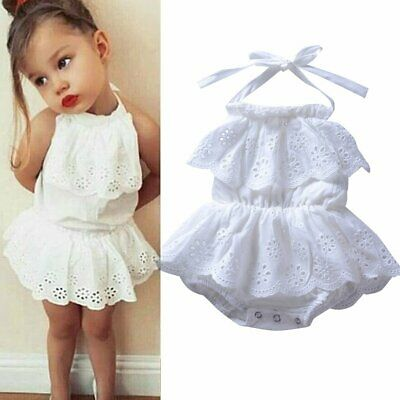 Newborn Kid Baby Girls Lace Princess Tutu Dress Romper Jumpsuit Bodysuit Sunsuit