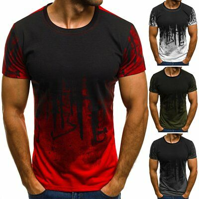 Men's Slim Fit O Neck Printed Short Sleeve Muscle Tee T-shirt Casual Tops Blouse