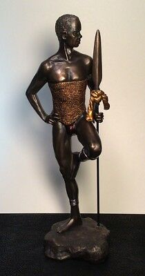 """12"""" TALL ~ Male Black African Warrior Statue Figurine Statue ~ Free Shipping!"""