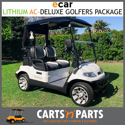 Ecar Lithium Ac Power Golf Cart Buggy 2 Seat White Golfers Deluxe Package