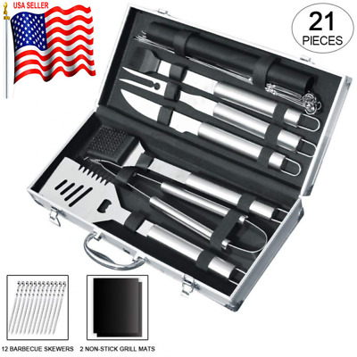 21pcs Stainless Steel BBQ Grill Tool Set With Aluminum Storage Case