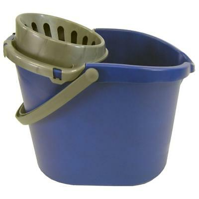 15 Qt. Oval Bucket with Wringer Easy-pour Spout 3 Gal. Capacity Blue and Grey