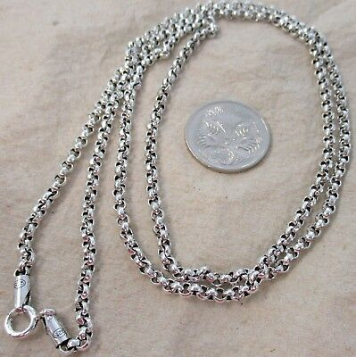 925 STERLING SILVER 3mm Belcher Oxidised Solid Round Link Chain 16'18'20'24'28'
