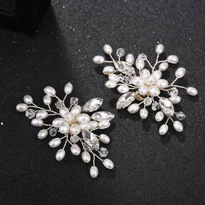 2 Pcs Pearl Crystal Shoe Clips Decoration Bridal Shoes Rhinestone Clip Buckle