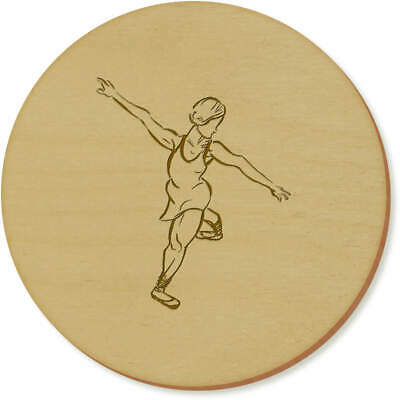 6 x 'Ballet Pose' 95mm Round Wooden Coasters (CR00078387)
