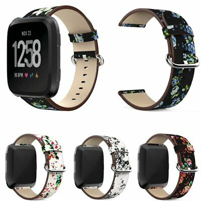Unisex Genuine Floral Leather Wrist 20mm Watch Band Strap Stainless Steel Buckle