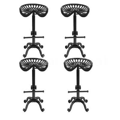 4PCS Industrial Bar Stool Vintage Swivel Cast Tractor Seat Chair Adjustable A5Q8
