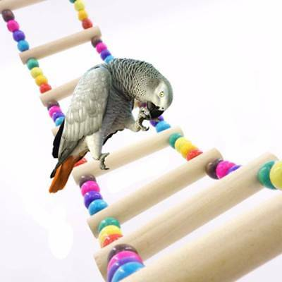 Bird Pet Ladder Swing Wooden Parrot Toys Parakeet Bridge Wooden Climb Bite Toy