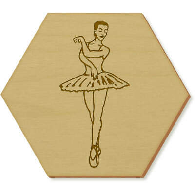 6 x 'Ballet Pose' 95mm Hexagon Wooden Coasters (CR00098493)