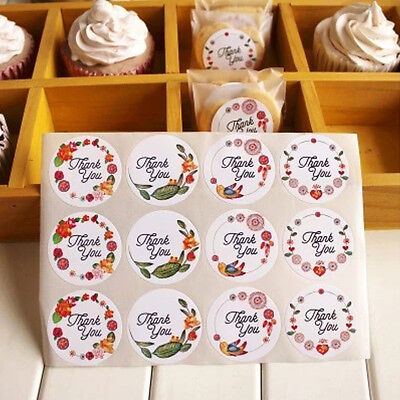 120Pcs Round Thank You Label Floral Packaging Seals Sticker Gift Tag Decor DIY