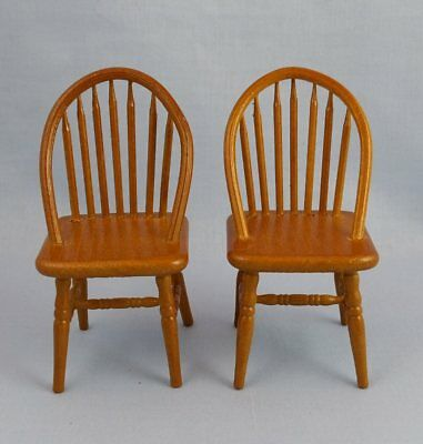 1/12th scale Dolls House Miniature Kitchen Spindle Back Chairs Oak x2
