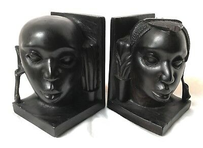 Vintage African Exquisite Carved Ebony Wood Carving Bookends Maasai Set Of 2