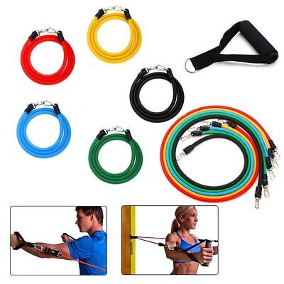 11 tlg. Expander-Set Fitness Tube Gymnastikband Yoga Latex Band Fitnessbänder
