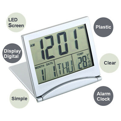 US Folding LCD Smart Digital Travel Alarm Clock with Thermometer Calendar Timer