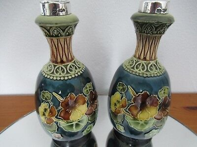 A Beautiful Pair Of Silver Topped Vases Made In 1911