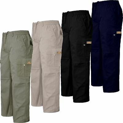 New Mens Rugby Cargo Combat Elasticated Waist Trousers Pants Work Casual Bottoms