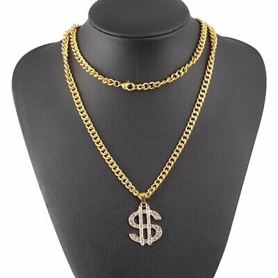 Dollar Sign Pendant Necklace Hip Hop Chain 18K Gold Plated Crytal Gold Jewelry