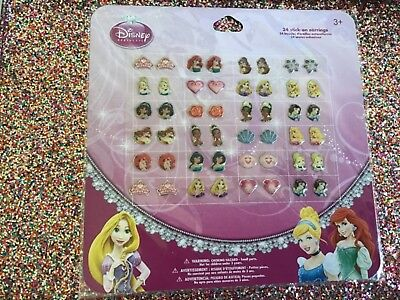 24 Pairs Girls Princess Sticker Earrings Rapunzel Ariel  Belle Jasmine