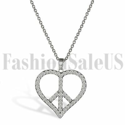 925 Silver Love Heart Peace Sign Pendant Necklace Chain for Women Wife Sisters