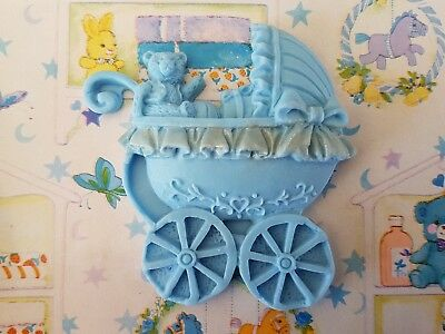 6 x Blue Edible Fondant Baby Pram with Teddy Design for Cake and Cupcake Topper