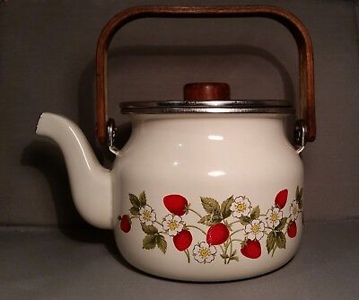 Small Baked enamel kettle teapot with strawberries, Farmhouse look