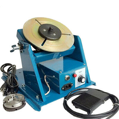 110V Rotary Welding Positioner Turntable Table 2.5'' 3 Jaw Lathe Chuck 2-20RPM