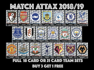 Match Attax 2018/19 18/19 Full 18 Card And Full 21 Card Team Sets 2018 2019